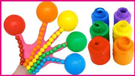 彩虹手指戴气球玩具扮家家 亲子手工彩绘人体游戏视频 小猪佩奇 奥特曼 熊出没 猪猪侠