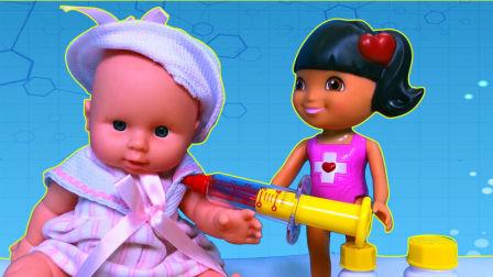医生玩具拆箱 米露娃娃看病 医生打屁股针 过家家 536