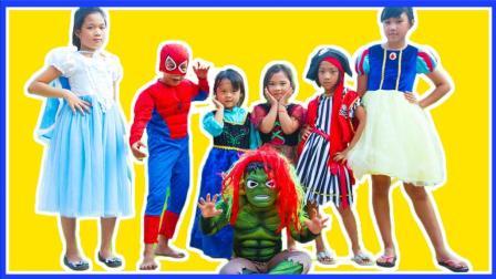 超级英雄儿童蜘蛛侠与绿巨人怪 冰雪奇缘艾莎公主被吓坏啦 卡通动画真人秀 小猪佩奇