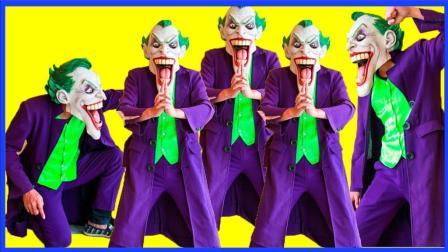 邪恶小丑的克隆人魔法真人秀 蜘蛛侠与超人的超级英雄合力 艾莎公主 卡通动画 小猪佩奇