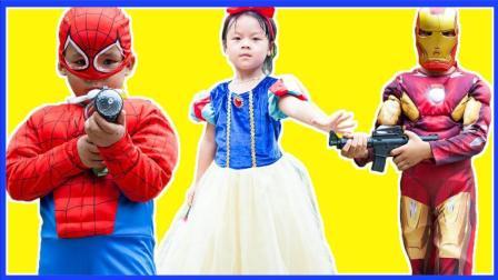 捣蛋小蜘蛛侠与钢铁侠射击游戏 超级英雄蜘蛛侠教训小丑真人秀 卡通动画 熊出没 奥特曼