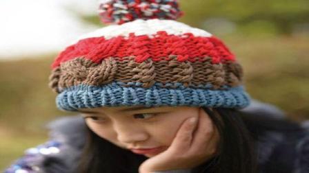 毛线帽子编织教程, 拼色麻花帽织法(第三集)