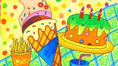 儿童画汉堡包可乐薯条图片