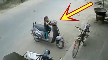 小女孩独自爬上摩托车, 悲剧发生时, 狗狗的反应