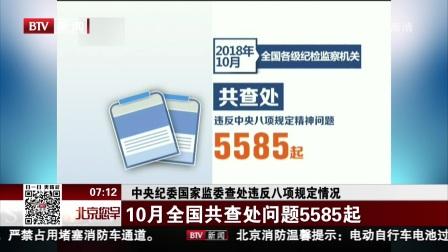 中央纪委国家监委查处违反八项规定情况 10月全国共查处问题5585起