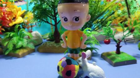 大头儿子玩具故事:把小白兔带回家的大头儿子,噢,好萌的小白兔!