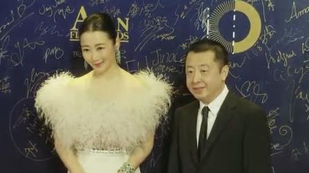 贾樟柯携演员赵涛出席电影节 男才女貌画面超养