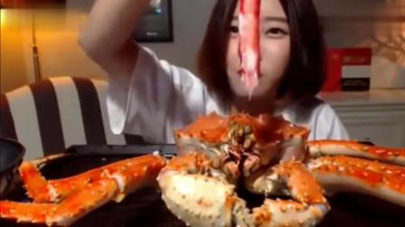 韩国美女大胃王挑战巨无霸帝王蟹,直接上剪子