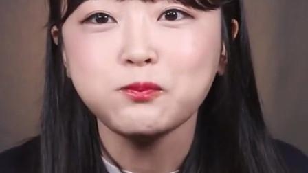 韩国女吃货,吃生牛肉蘸点酱汁,看着吃得好香