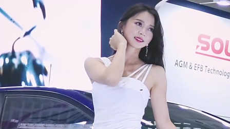 韩国性感美女车模,白色长裙小姐姐,红唇烈焰