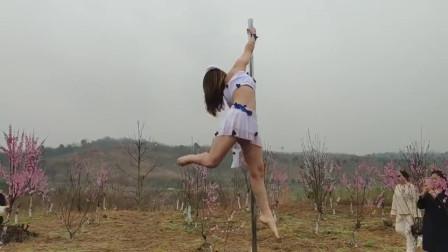 三月桃花美:花海钢管舞——《半壶纱》