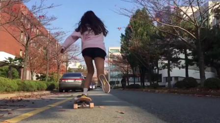韩国美女玩滑板,直接撩到我了