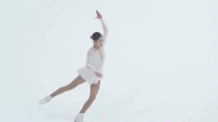 白衣韩国美女演绎超美的冰上芭蕾,全程不敢眨