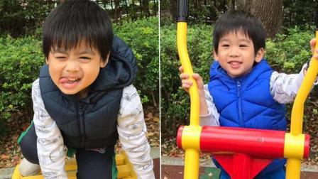 林志颖爱妻晒双胞胎儿子玩耍照 锻炼超可爱