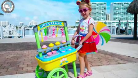 萌娃乐园:可爱小萝莉的美食贩卖小车,给孩子们和汪汪队成员提供美味的食物!