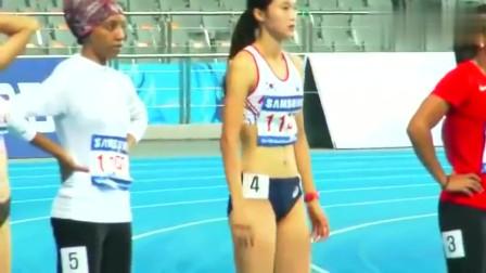 女子百米短跑比赛现场,韩国美女运动员好可爱