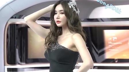 韩国美女车模,黑色礼服小姐姐,纤细修长的身