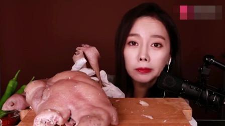 韩国美女吃播,吃一个猪头,吃的直流口水