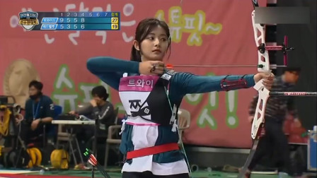 女子射箭比赛,韩国美女周子瑜的技术真好,第