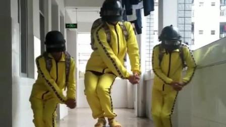 宿舍三人跳吃鸡舞,配上这个音乐太魔性了!