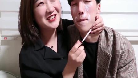 美女帮韩国男友化爱豆舞台妆,仿妆伯贤,两人