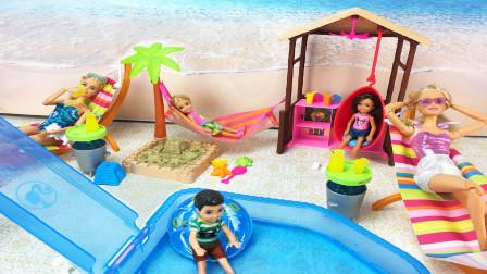 芭比沙滩玩具,帮芭比搭建海边娱乐设施,芭比