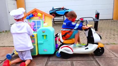 小正太开披萨餐厅 萌宝和小宝宝想要订餐 萌娃搞