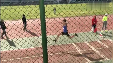田径飞人:体育生厉害了,男子三级跳远,这助