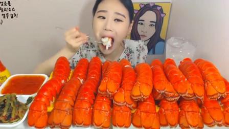 韩国美女花23万韩币买了30只龙虾,一口一只,简