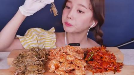 韩国美女大胃王,吃3种口味的螃蟹,这鼻子整得