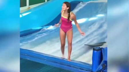 精彩搞笑视频-最后一个妹子摔了都这么开心!