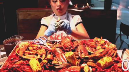 外国大胃王美女吃20磅海鲜, 大龙虾帝王蟹大雪蟹