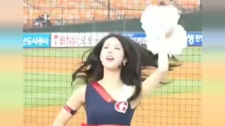韩国美女啦啦队,身材超棒跳舞很美,现在观众