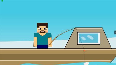 MC搞笑动画:进入水之传送门通往大海的传送门