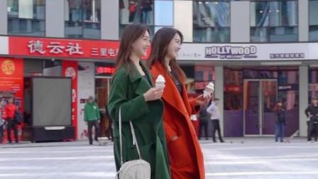 街拍网红双胞胎姐妹,一字马惊到路人