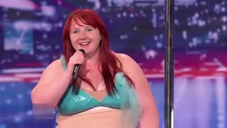 微胖女孩台上大秀钢管舞,刚跳一半惨遭评委淘