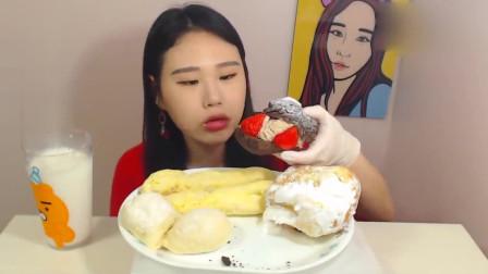 韩国吃播美女卡妹晚餐就吃蛋糕 满满的*油好治愈