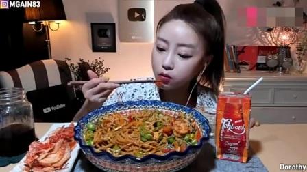 吃播大胃王,韩国美女吃播欧尼,吃自制麻辣泡