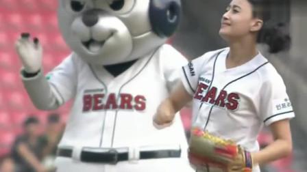韩国开球的美女还以为是个花瓶,没想到一套动