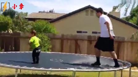外国人搞笑视频:第一个小伙子直接把自己给摔