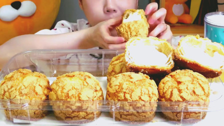 韩国美女吃播吃*油泡芙, 吃真任性, 不怕长胖吗?