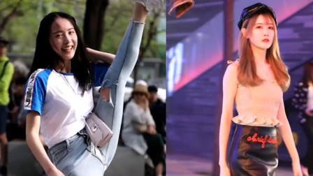 街拍:杭州小姐姐大秀一字马,身材太好了!