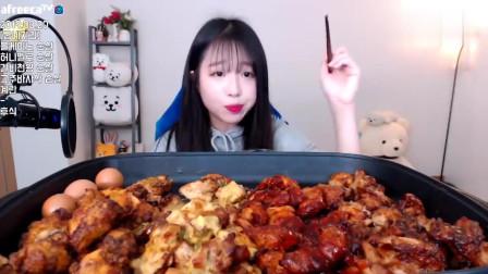 大胃王,韩国小美女吃2500G的烤肉和龙虾,吃得好