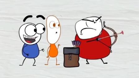 搞笑铅笔动画:三个臭皮匠比赛射箭,一个比一