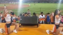 韩国棒球啦啦队热舞,中间的大叔疯了,比旁边