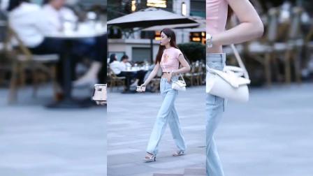 街拍美女:小姐姐这是裤子穿大了吗?