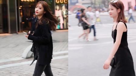 杭州街拍:据说第一个小姐姐是王某聪的绯闻女友?你们认识吗?