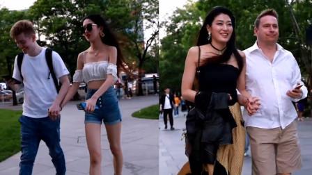 杭州街拍:为什么身材这么好的小姐姐都喜欢找外国小伙呢?你们知道吗?
