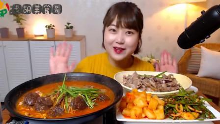 韩国吃播:美女吃大锅韩国米肠,大份卤肉和萝