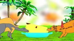 恐龙世界搞笑视频  争苹果吃的两只小恐龙